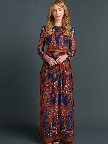 Print Stitching Long Sleeve O-Neck High Waist Big Hem Dress