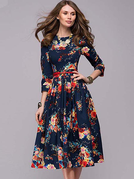 Flower Pattern Round Collar Long Sleeve Bubble Dress