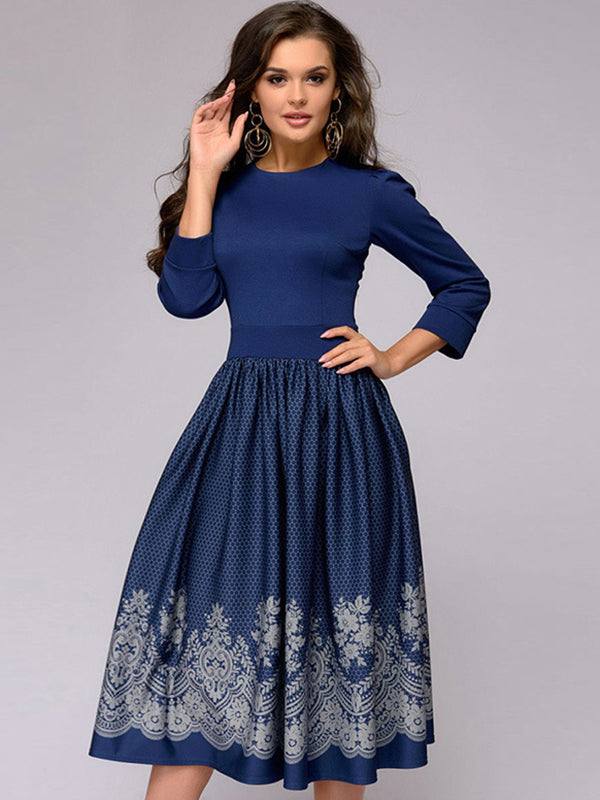 Fashion O-Neck Slim 3/4 Sleeve Evening Dress