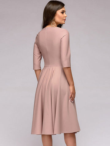 Simple Sweet Solid Color O-Neck 3/4 Sleeve Slim A-Line Dress