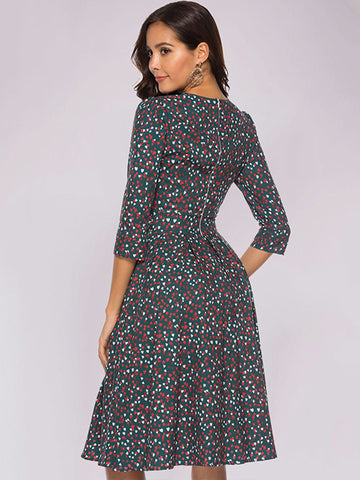 Vintage Heart Pattern 3/4 Sleeve Party Skater Dress