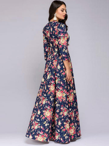 Elegant Sexy Print 3/4 Sleeve O-Neck Evening  Dress