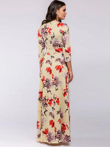 Chic Bohemia Elegent Print 3/4 Sleeve Cotton O-Neck Long Dress