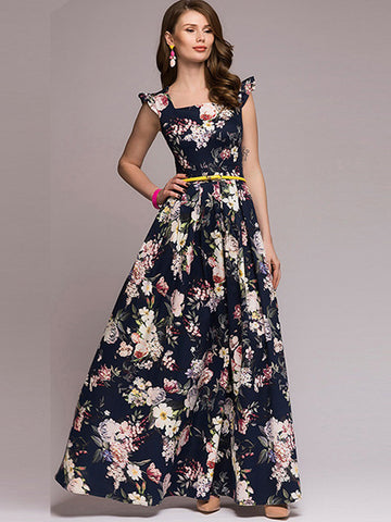 Vintage Printed Square Neck Sleeveless  Floor-Length Dresses