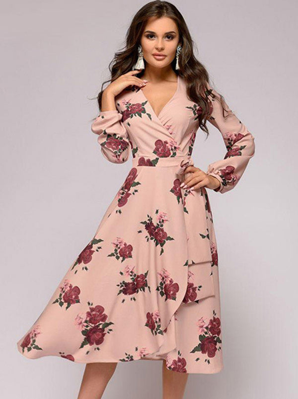 Casual Sexy Pink Deep-V Neck Long Sleeve Irregular Midi Dress