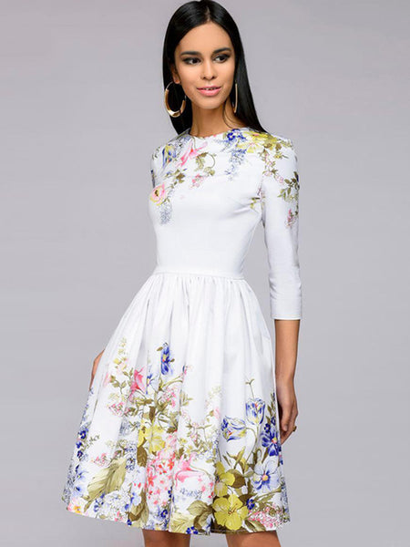 Sweet White 3/4 Sleeve O-Neck Mini A-Line Dress