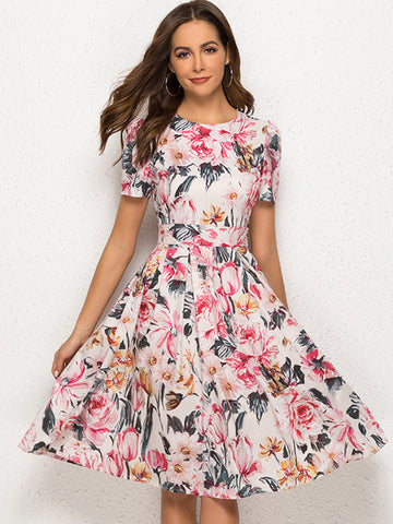 Party Printing Short Sleeve O-Neck Skater Dress
