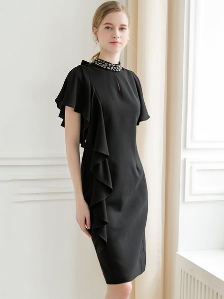 Design Pure Color Short Sleeve Stand Collar Midi Dress