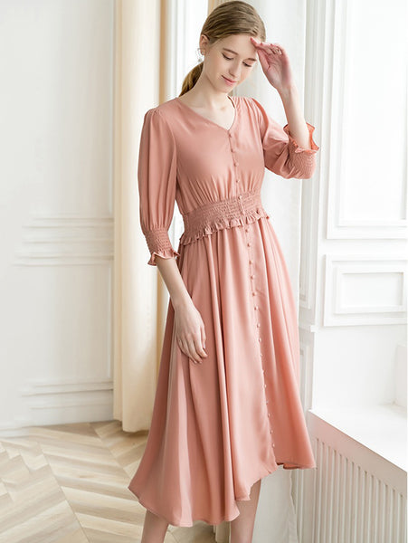 Chic Pure Color Stitching V-Neck Half Sleeve A-line Dress