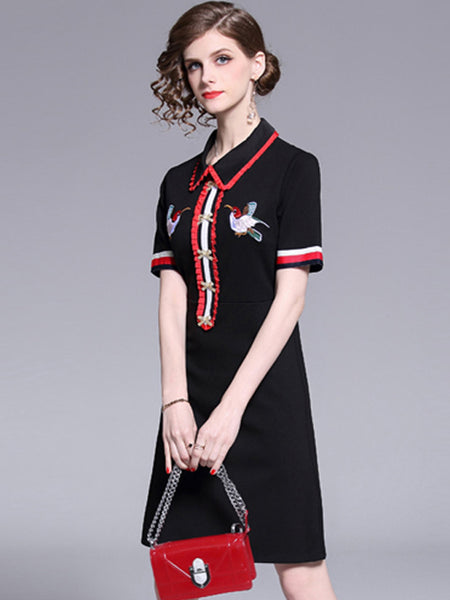 Casual Embroidery Black Short Sleeve Peter Pan Collar Shift Dress