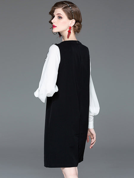 Work Color Block Long Puff Sleeve V-Neck Straight Dress