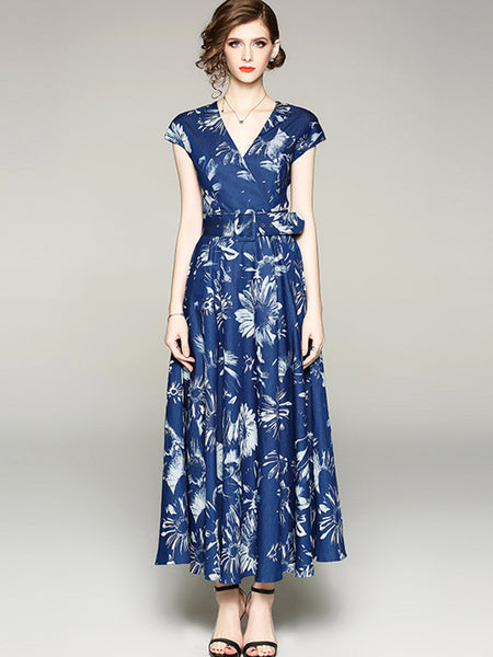 Elegant Print V-Neck Sashes High Weist Maxi Dress