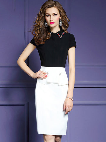 Work Beaded Turn Down Collar Sheath Slim Dress