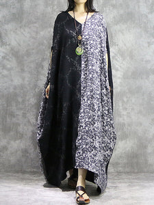 Linen Loose Patchwork V-Neck Floor-Length Shift Dress