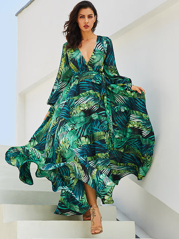 British Green Print  Long Sleeve Deep V-Neck  Big Hem Maxi Beach Dress