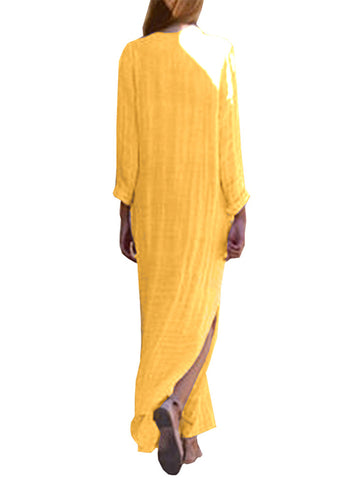 Casual Pure Color Deep V-Neck Long Sleeve Big Hem Maxi Dress