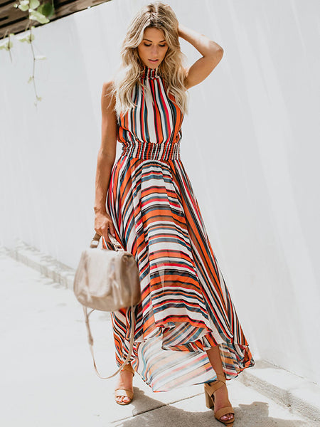 Chic Strip Print Stand Collar Sleeveless Irregular Dress
