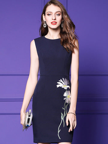 Elegant Sleeveless Embroidery Slim Bodycon Dress