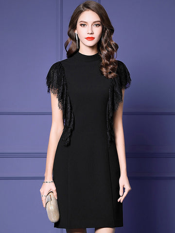 Black Elegant Lace Stand Collar Party Bodycon Dress
