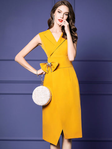 Fashion Sleeveless Bowknot Accessories Split Bodycon Dress
