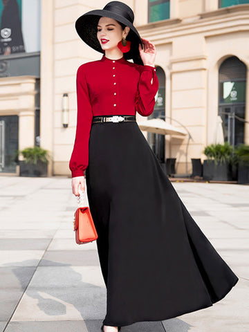 Fashion Slim O-Neck Elegant Big Hem Maxi Dress