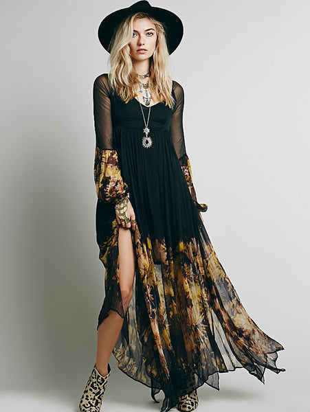 Bohemia Pleated Print Backless Long Sleeve Big Hem Dress