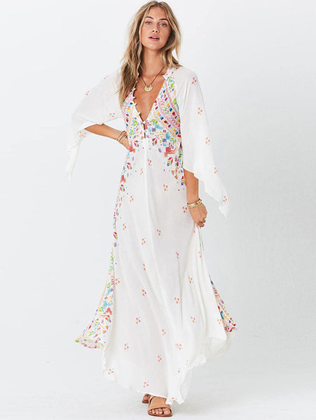 Bohemia Print V-Neck 3/4 Sleeve Maxi Shift Dress