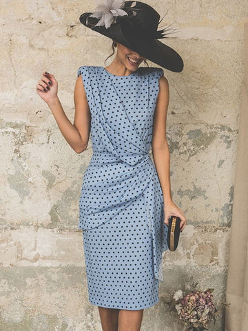 Work Polka Dots Sleeveless O-Neck Bodycon Dress