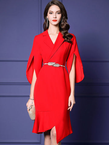 Elegant V-Neck Split Sleeve Slim Red  Bpdycon Dress