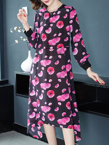 Casual Print Silk Long Sleeve O-Neck Shift Dress