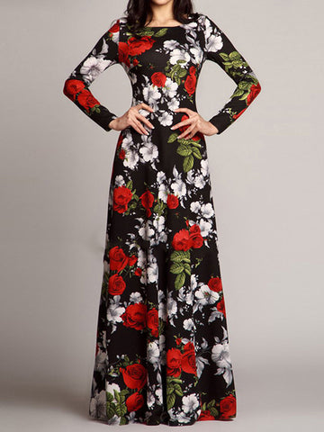 Chic Print Square Collar Long Sleeve High Waist Sheath Maxi Dress