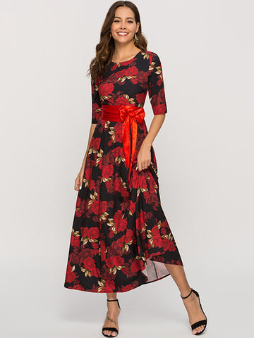 Bohemia Print Half Sleeve Sashes O-Neck Maxi Dress
