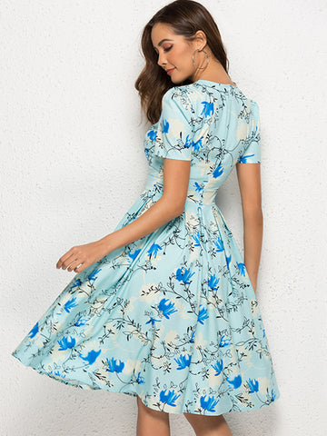 Stylish Floral Print Short Sleeve O-Neck Pleated Skater Dress