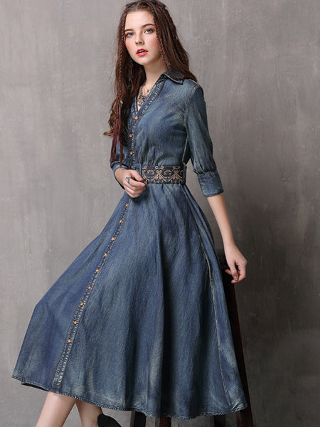 Chic Embroidery Half Sleeve V-Neck Asymmetrical Skater Dress