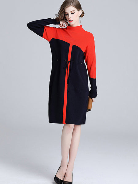 Knitted Stand Collar Long Sleeve Lacing Stitching Hit Color Dress