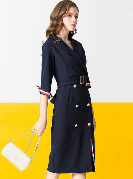 Stylish Lapel Collar Half Sleeve Double-Breasted A-Line Split Dress