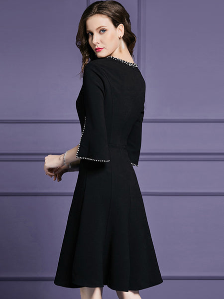 V-Neck Half Sleeve Gathered Waist A-Line Dress