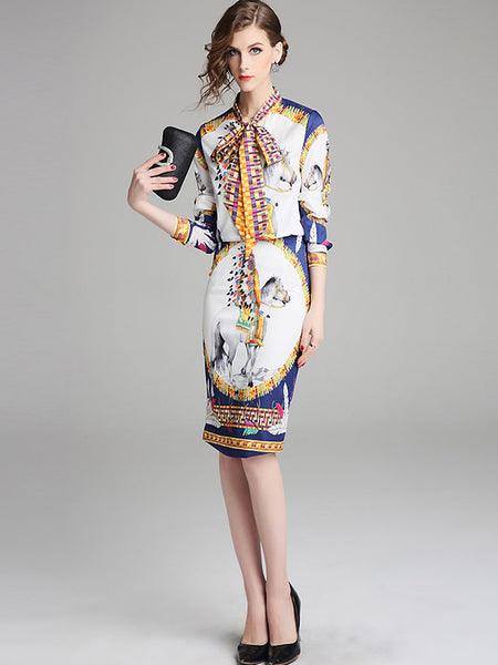 Work Suit Floral Print Bowknot Long Sleeve Shirt & Sheath Dress