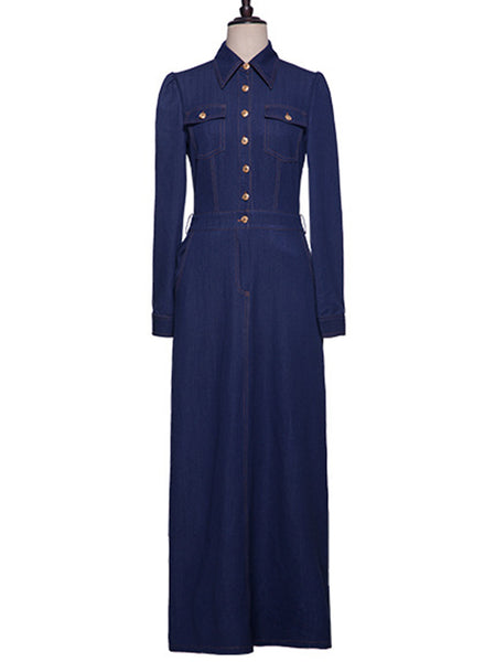 Vintage Skinny Split Stand Collar Denim Maxi Dress