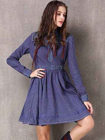 Vintage Embroidery Blue Turn Down Collar Long Sleeve Bodycon Dress