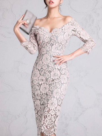 Elegant One Shoulder Lace 3/4 Sleeve Sexy Bodycon Dress (The Color Is Subject To The Dress Received)