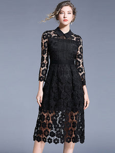 Elegant Hollow Out Lace Pure Color Turn Down Collar Sheath Skater Dress