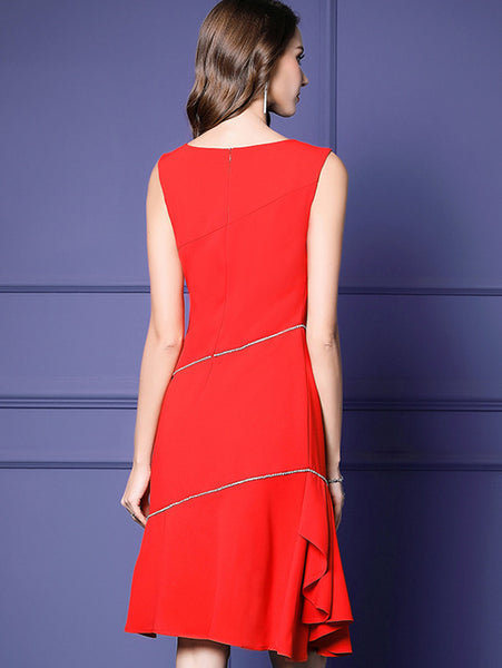 Elegant Red Falbala Sleeveless O-Neck Irregular Bodycon Dress