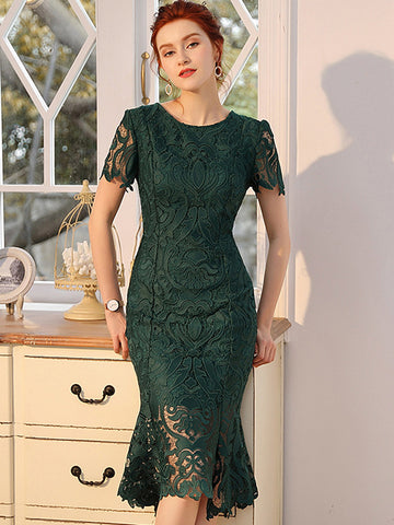 Embroidery Slim Lace Short Sleeve Mermaid Bodycon Dress