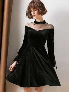Sexy See-Through Long Sleeve Skater Dress