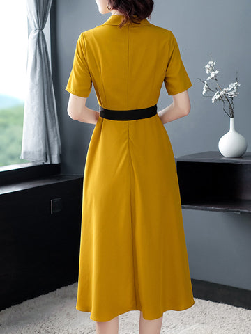 Yellow Elegant Belted V-Neck Skater Striped A-line Dress
