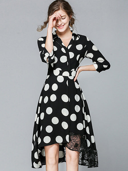 Vintage Slim Turn Down Collar Asymmetrical Skater Dress