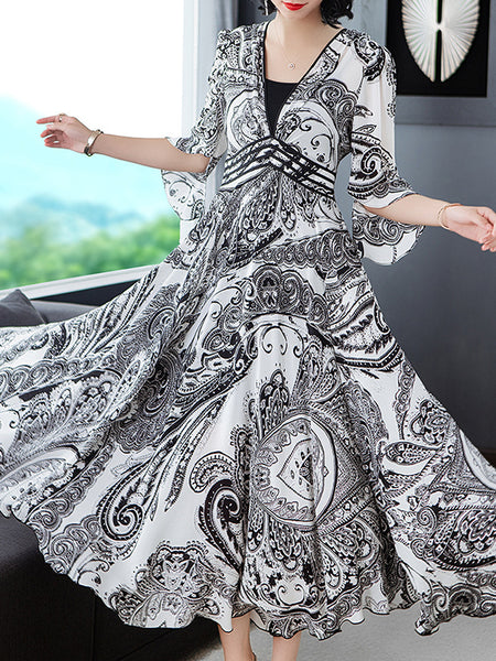 Folk Deep V-Neck novelty design Gathered Waist Maxi Dress