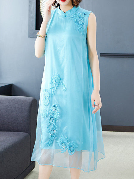 Retro Embroidery Paillette Improved Cheongsam Loose Skater Dress