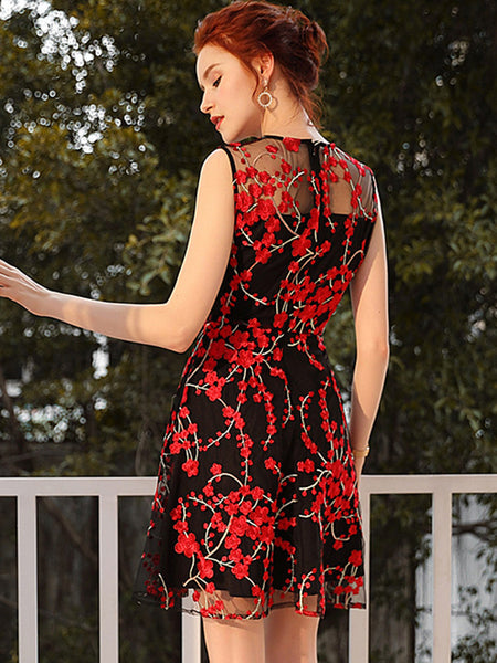 Minority Mesh High Waist Embroidery  Floral Pattern A-Line Dress